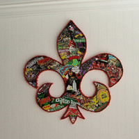 Large Louisiana Fleur De Lis Collage 32 x 31 Wooden Sculpture Wall Hanging FREE SHIPPING
