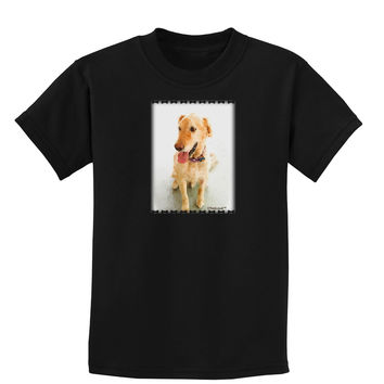 Golden Retriever Watercolor Childrens Dark T-Shirt