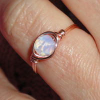 Moonstone ring, Rose gold wire wrapped moonstone ring, Moonstone wire wrapped ring, Gemstone ring, Rose gold ring