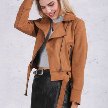 Faux Leather Brown Suede Jacket
