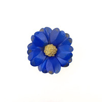 Blue Enamel Flower Brooch With Gold Tone Center - 1960s / b5