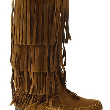 AXNY Mudd 55 Womens 4 Layer Fringe Moccasin Mid-Calf Boots Rust