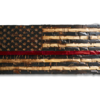 Wood Thin Red Line Flag (Firefighter Flag) 41x20