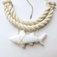 Necklace White Shark rope nautical resort necklace