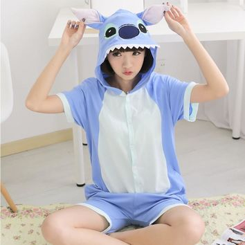 MOONIGHT Summer Short Sleeve Adult Pajama Cosplay Patchwork Character Onesuits Lovely Pajamas Party Women Pajama