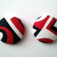 Red, White, and Black Color block button earrings