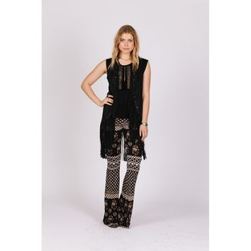 Faux-suede Vest With Grommet Detailing And Fringe Bottom