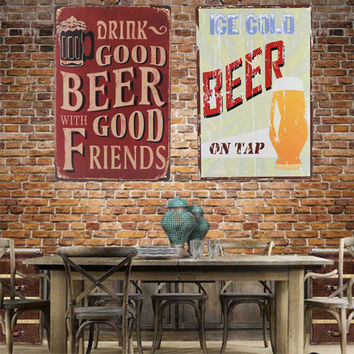 7 Patterns Vintage Beer Letters Cool Metal Art Poster Wall Decor Suitable For Pub Bar Home Retro Untique Decoration Retro Street