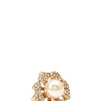 Faux Pearl Flower Ring