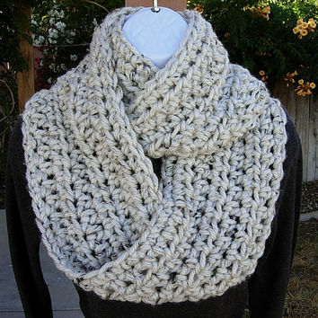 COWL SCARF Infinity Loop..Off White Ivory Tweed with Tan, Black..Soft Bulky Crochet Knit Winter Circle, Neck Warmer..Ready to Ship in 2 Days
