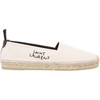 Saint Laurent - Embroidered leather-trimmed canvas espadrilles