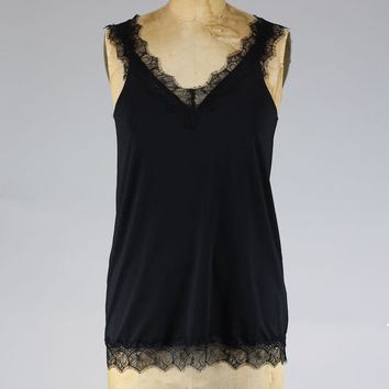 Rosemunde Chantilly Lace Tank in Black