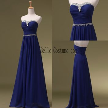 Simple Blue Prom Dresses, Sweetheart Prom Dresses 2016, Blue Sweetheart Evening Dresses