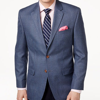 Lauren Ralph Lauren Men's Classic-Fit Blue Windowpane Sport Coat - Blazers & Sport Coats - Men - Macy's