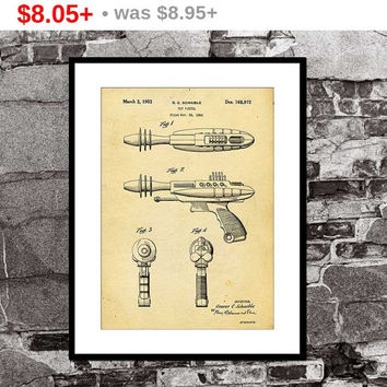Ray Gun - Steampunk - Toy Pistol Patent Print - Art Print - Wall Art - steam punk