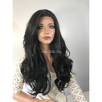 Jet Black Loose Curls  Human Hair Blend Multi Parting Lace Front Wig - Darla