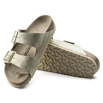 Sale Birkenstock Arizona Suede Leather Washed Metallic Cream Gold 1008797/1008798 Sandals
