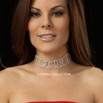 I LOVE CUM Rhinestone Choker-naughty-costume jewelry