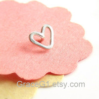 Cute Heart cartilage stud earrings cartilage earrings, heart tragus earrings, Heart nose ring stud nose stud, ONE stud