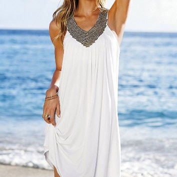 Sleeveless V-neck Mini Dress