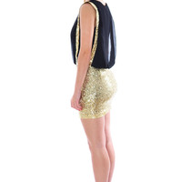 Loulou Sequin Drape Dress In Gold