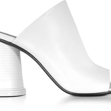 MM6 Maison Martin Margiela White Leather High Heel Slide Sandals