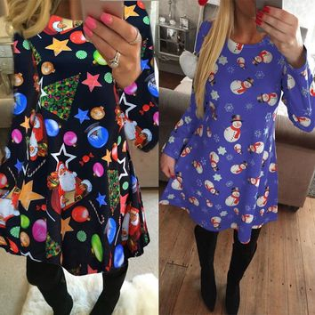 New Casual Long Sleeve Christmas Dress O-neck Family Party A-Line Dress Clothes Snowman Printing Mini Dress For New Year