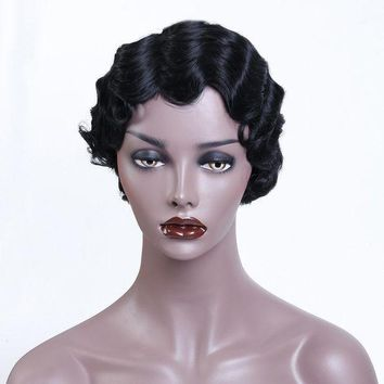 ESBONT Short Curly Wigs Black Hair Synthetic Wigs