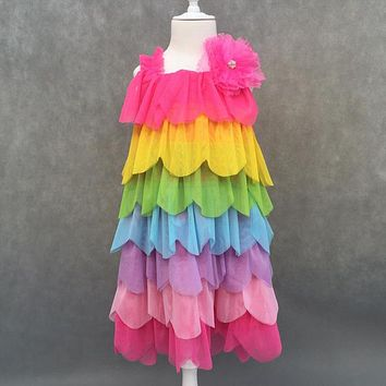 New Summer Kids Fashion Dress Rainbow Colors Striped Clothing Girls Trend Quality Dress Princess Style