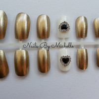 Many variations possible with this set!! Gold Chanel/Heart/Cross/Crown/Bow/Skull/ or Butterfly Fake Nail Set
