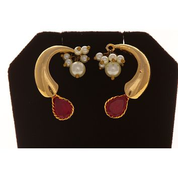 Gold brass  Ear cuffs earrings with Ruby Stone and Pearl