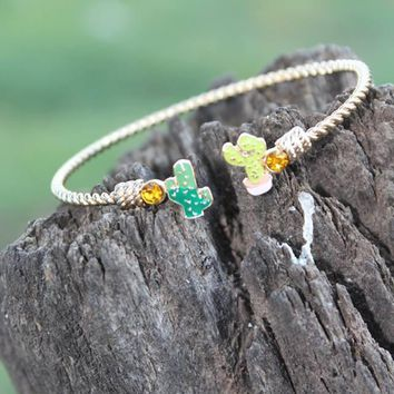 Gold Cactus Bangle Bracelet