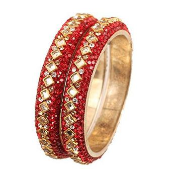 Touchstone Colorful Bangle Collection Square Shape Kundan Look Clear Rhinestone Lipstick Red Beads Indian Bollywood Designer Jewelry Metal Bangle Bracelets In Antique Gold Tone For Women Set Of 2