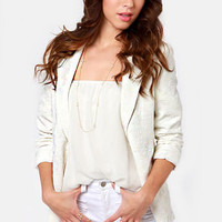 Refined-ers Keepers Embroidered Ivory Blazer