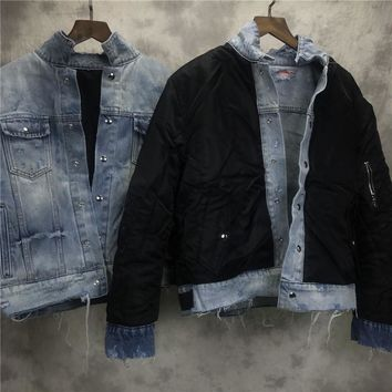 Trendy Reversible Distressing Denim Trucker Jacket Justin Bieber Military Side Pocket Quilted Bomber Jacket Free Shipping AT_94_13