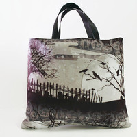 Reusable Fabric Trick or Treat Bag-- Stunning Cemetery Scene with Ravens in Tree Print Black Lining and Satin Ribbon Handles