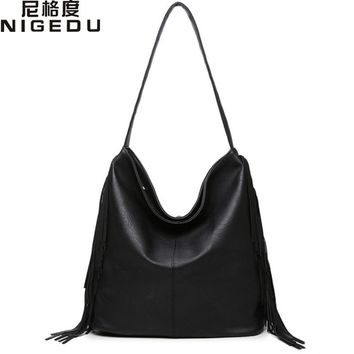 Large Casual Hobos Women fringe tassel Handbag PU Leather Women's Shoulder Bag Female Big Tote Bags for Ladies Handbags bolsa