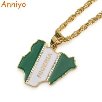 ac NOOW2 Anniyo Nigeria Map Flag W/Rhinestone Pendant Necklaces for Women/Men Silver/Gold Color Nigerian Jewelry Patriotic Gift #068806