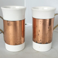 Pair of Ceramic Copper Coffee Steins Moscow Mule Mug with Brass Handles