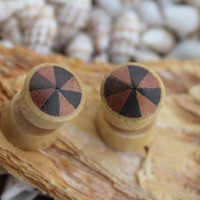 Fake gauge Plugs  , 11mm Gauge ,Organic Earrings, Yellow Jack Fruit ,post Earrings, hand carved, inlayed Sono Wood and Saba Wood