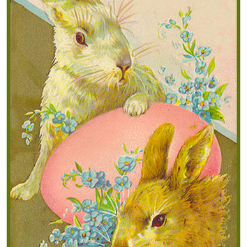 Vintage Easter Bunnies with Flowers and Pink Egg Counted Cross Stitch or Counted Needlepoint Pattern