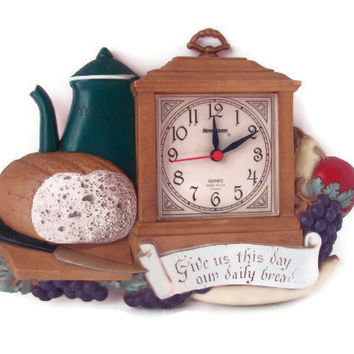Vintage 1985 Burwood Give Us This Day Our Daily Bread Clock