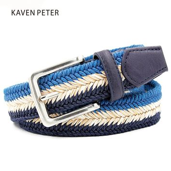"Unisex Plain Webbing Mens Boys Waist Belt Casual Braided Belt  With Wax Rope and Straw Pin Buckle Belt 1-3/8"" Wide Free Shipping"