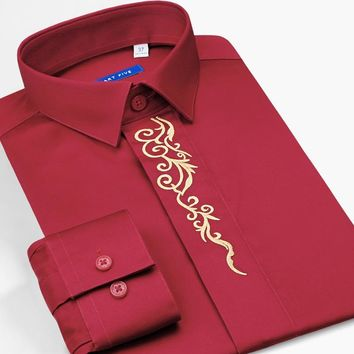 Smart Five 2018 New Formal Tuxedo Shirt Men High Quality Blouse Camisa 100% Cotton Long Sleeve Red Shirts Male SFL5Q30