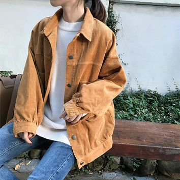 2018 BF Style Women Fall Corduroy Jackets Long Sleeve Fashion Pumpkin Oversize Street Coats Femme Pockets Thick Classic Outwears