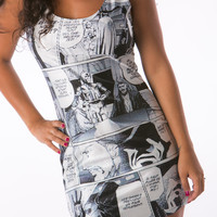 Silk Print Star Wars Tight  Mini Dress