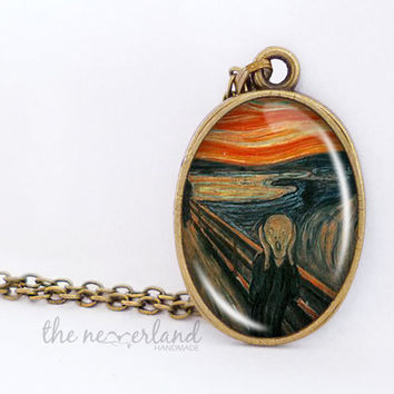Scream Munch painting pendant, cabochon necklace by The Neverland
