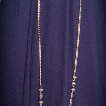 Vintage 1960's MCM Mid Century Extra Long Silver Necklace