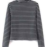 Monochrome Stripe Print High Neck Long Sleeve T-shirt
