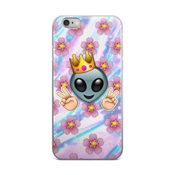 Princess Alien Peace Crown Emoji Flower Tie Dye Purple White & Sky Blue iPhone 4 4s 5 5s 5C 6 6s 6 Plus 6s Plus 7 & 7 Plus Case